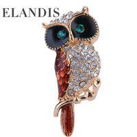 bijoux - Multicolor crystal rhinestone owl brooches ELANDIS promotions High Quality Fashion bijoux Creative Christmas gift BR02758
