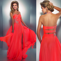 Reference Images beach cut outs - 2016 Coral Sexy Prom Dresses Crystal Rhinestones Halter Slit Split Chiffon Bright Beach Evening Dress Sexy Low Back Cut Out Neon Coral Gown