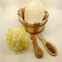 Wholesale Bath accessories wood bath set wooden comb bath brush pieces bath sponge bathroom accessories care M