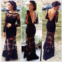 silk dress shirt - Soiree Evening dresses New Long Sleeves Ruffles Bateau Neck Backless Black Silk Lace Sheer Prom Dresses Mermaid Formal Evening Gowns XL