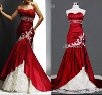 Wholesale Custom made Lace Back Wedding Dress Hot Sale Spring with Sexy Burgundy Taffeta Sweetheart and White Applique Real Sample Bridal Gowns