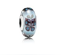 Glass Animals Round Hot Summer Jewelry Sterling Silver Blue Butterfly Murano Glass Charm Bead For Pandora