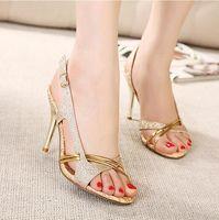 Wholesale Cheap Strap Sandal Heels - New fashion high heels sandals gold shoes dress shoes 10CM sexy wedding shoes cheap glitter shoes EU34-39 ePacket shipping
