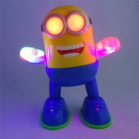 Wholesale DHL Despicable Me sing and dance electric robot with light and music Flashing dancing minions toy gift for children with English retail box