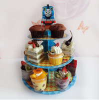baby shower desserts - 2015 New Thomas Resusable Tier Dessert Stand Cupcake Buffet Serving Tray Locomotive Theme Birthday Party Baby Shower Decor