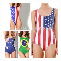 american apparel swimwear - American Apparel Flags Printing Swimsuit Brazil Britain Amercian Flags Bodysuit Fringe American Swimwear One Piece Women FG1510