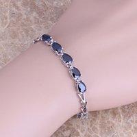 7.2 inch - Free Fast Shipping Silver Bracelets For Women Black Sapphire Water Drop Style Silver Jewelry Link Bracelet Inch S0386