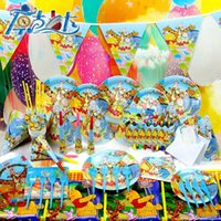 bear cove - Hot CK winnie bear theme kids birthday party decorations sets plates cups table cove napkins festive party suppliers