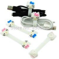 Wholesale Hellokitty Cable winder roll up Earphone bobbin winder cut line machine cable management Fashion GiftWholesale