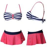 Wholesale 2016 New Women Bikinis Set Striped Swimsuit Sashes and Red Skirt Retro Beach Swimwear High Waist Pin Up Bikinis