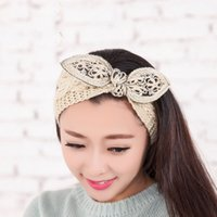 Wholesale Fashion Knit Crochet Headbands New Korean Boutique Bow Style Crocheted Hair Bands for Girls Women Hair Accessories