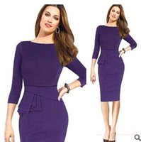 Wholesale 2016 In Stock New Half Sleeves Purple Women Pencil Dress Bodycon Outfits Bandage Dresses For OL Ladies OXL150103
