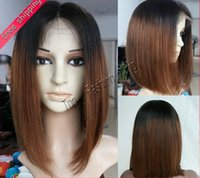 Cheap Short Human Hair bob wigs haircut straight updo style Two Tone lace front wig ombre lace wigs black&blond freeshipping