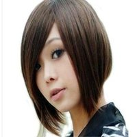 Wholesale Fashion handsome wigs female oblique bangs short hair repair high temperature wire bob wig with free wig cap