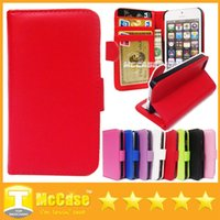 For Chinese Brand photo frame stand - iPhone Stand Wallet Style Photo Frame PU Leather Case With Credit Card Slots Holder Phone Bag Cover For iphone5 S C iPhone6 Plus