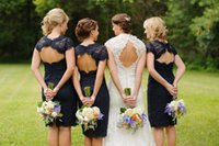 Wholesale 2015 Bridesmaid Dresses in Real Wedding Sheath Crew Navy Blue Lace Appliques Keyhole Backless Knee Length Cap Sleeves Bridesmaid Gowns