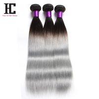 acid silver - New Fashion Silver Grey Ombre Human Hair Extensions Brazilian Virgin Hair Bundles Straight Ombre Dark Grey Hair Weave Human Hair Wave HC