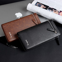 Wholesale 2015 New Style Brand men s business casual long wallet zipper versatile clutch bag men solid high grade PU leather purse money clip Sale