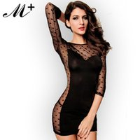 Wholesale Long Sleeves Hoolow Out Polka Dot Babydoll Chemise LC2776 Free sippping