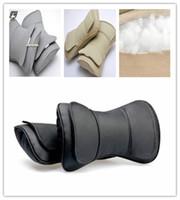 auto neck pillow - 2pcs Leather Auto Car Neck Rest Cushion Headrest Pillow Mat