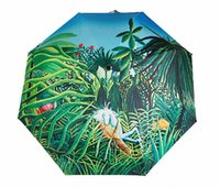artist umbrella - France Fomous Artist Rousseau Masterpiece Oil Painting Foldable Parasol Compact Umbrella Be Leopards Against Horse Sunny Rainy Umbrella