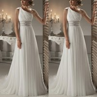 Cheap Grecian Style Perfect One Shoulder Bridal Wedding Gown Empire Waist A Line Sweep Train Crystal Beaded Ivory Chiffon Vintage Wedding Dresses