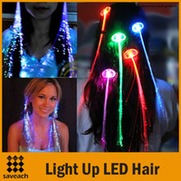 Wholesale Luminous Light Up LED Hair Extension Flash Braid Party girl Hair Glow by fiber optic For Party Christmas Halloween Night Lights Colors