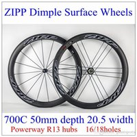 zipp - 2015 ZIPP Dimple Surface Carbon Wheels UD C mm Full Carbon Fibre Wheelset White black Decals Holes With Powerway R13 Hubs
