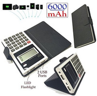 dual calculator - Dual USB mAh polymer battery multifunction Calculator Power Bank with LED flashligh PU cover for iPhone Samsung HTC colors