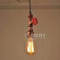 Cheap Loft Vintage Edison Pendant Lights Personalized Bar Lighting Industrial Vintage Water Pipe Pendant Lamp E27 Black Copper Lamps