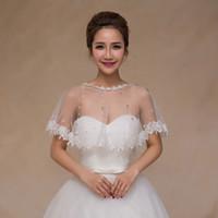 accessories poncho - 2016 New Sunner Lace Bolero Bridal Wedding Bridal Hollow Wrap Hood Poncho Shawl wraps Wedding dress accessories