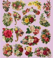 antique printing press - 6pcs cm DIY Heat Transfer Printing Antique Flower Iron on Heat press Sticker Ornament of cloth art