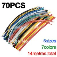 Cheap 70pcs 2:1 5 Sizes 7Colors Assortment Polyolefin H-type Heat Shrink Tubing Tube Sleeving Wrap Wire Cable Kit Free Shipping A5
