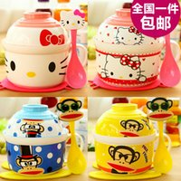 Cheap Wholesale-Japanese creative cartoon cup of instant noodles, instant noodles bowl cutlery sets, lovely ceramic bowl large bowl with lid