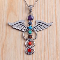 Wholesale Beautiful Angel Wings Sword Gem Stone Beads Metal Reiki Pendulum Pendant Charms Healing Chakra Amulet Fashion Jewelry