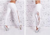 Wholesale Women s Lace Embroidery Hollow Out Sexy Long Jeans Trousers Fashion Ladies Denim Pencil Pants