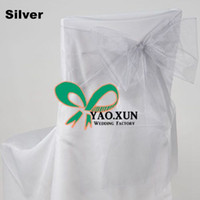 Wholesale Color Chair Cover - Good Quality Organza Chair Bow\ Chair Sash For Chair Cover - Silver Color