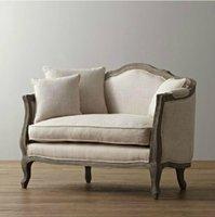 big armchairs - European Style solid wood furniture American village the flax cloth soft roll armchair creative oak big single sofa chair