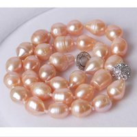 akoya rice pearl necklace - Big MM Genuine Rice Pink akoya AAA pearl necklace Magnet Clasp quot