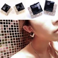 Women's art deco drop earrings - New Black Faceted Rhinestone Square Earrings Ear Stud Art Deco Style Gold Black Color Drop Shipping EAR BK