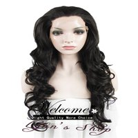 Wholesale Gorgeous High Density inch Long Natural Wavy Dark Brown Heat Resistant Fiber Synthetic Lace Front Wig