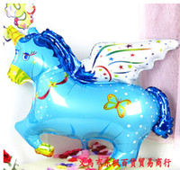Wholesale Latest Blue Red Pony Foil Balloon cm Flying Pegasus Horse Inflatable Hydrogen Balloon Romantic Wedding Decoration Children Birthday Gift