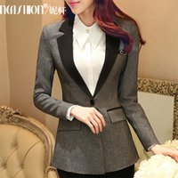 Women career suits for women - 2016 New Women Suits Blazer Pants for OL Office Ladies Business Career Sets Gray Long Sleeve Autumn Spring