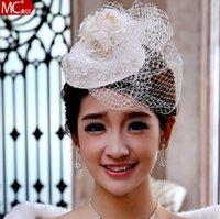 Wholesale 2014 Latest Bride Veil Rhinestone Embellishment Mesh Bridal Headdress Hat Veil Hat Hair Ornaments Little Hat