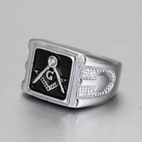Acero inoxidable 316L pulido brillante Rhinestores hombres joyería de plata geométrica de los inconformistas de la vendimia del anillo Anillos masones masónico Accesorios