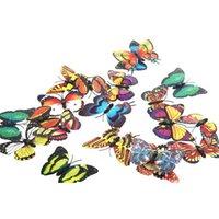 Wholesale 20pcs cm D Artificial Decorative Butterfly Butterflies Fridge Magnet Double Wing for Home Christmas Wedding Decoration