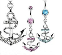 Wholesale 2015 Summer Style Fashion Women Body Piercing Jewelry Anchor Dangle Rhinestone Charm Belly Button Navel Rings Sexy Accessories