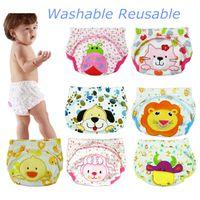 Wholesale Animal Embroidery Washable Reusable Baby Cotton Cloth Potty Training Pant Diape Nappy Changing Fraldas Reutilizaveis Via Epacket