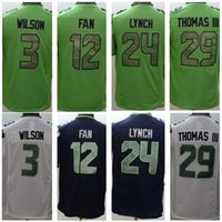 Cheap 2015 New Football Seahawks Jerseys Russell Wilson Marshawn Lynch Richard Sherman Kam Chancellor Game Elite Blue White Green Football Jersey