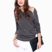 Wholesale Womens Female Fashion Side Zipper Off Shoulder Long Sleeve Blouse Casual Tops Shirt Sweatshirt